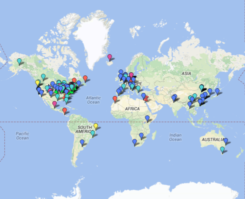 Here's a global map of all the residencies mentioned by this new service.